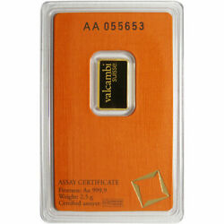 2.5 Gram Valcambi .9999 Fine Gold Bar in Assay $170.97