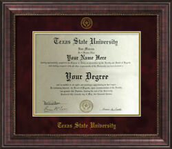 TEXAS STATE UNIVERSITY DIPLOMA FRAME RUSTIC ANTIQUE with MAROON MAT $110.00