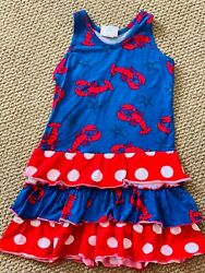 Boutique Corkys Kids Red Blue Lobster Ruffle Dress Sundress size 7 4th of July $12.99