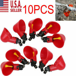 10PC Poultry Water Drinking Cups Chicken Hen Plastic Automatic Drinker USA NEW $8.99