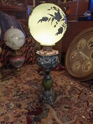 Vintage Gone With The Wind Lamp Green Shade with Silver Flower Pattern GORGEOUS $199.99