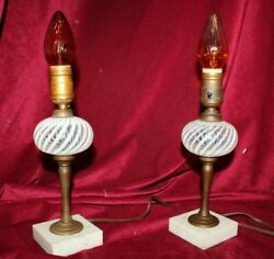Pair of Vintage Glass and Brass Small Table Lamps with Marble Bases $108.00