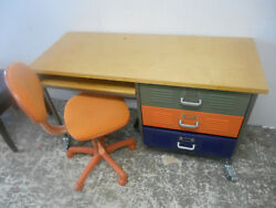 Pottery Barn Industrial Design Home Office Computer Writing Desk Metal Drawers $250.00