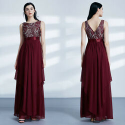 Ever-Pretty Long Evening Dress Floral Lace A-Line Burgundy Wedding Dress Gown $16.19