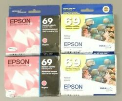Epson 69 Magenta Yellow Ink Cartridge T069 Genuine New Sealed Box Lot Of 4 $35.99