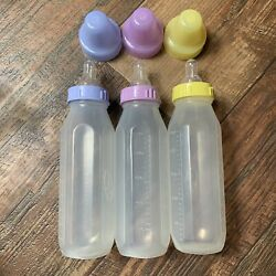 3 Vtg Evenflo Baby Bottle Pink Plastic 8 Oz Nurser Block Letter Logo Retro Prop $48.99