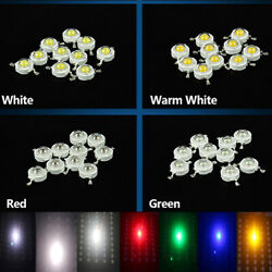10X 50X 100X High Power White Red Blue Yellow LED COB Chip Wholesale Lights 1W