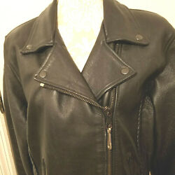 Harley Womens Motorcycle Biker Quality Black Leather Jacket Large NICE Deal $60.00