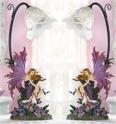 Set of 2 ** 17 3 8#x27; Tall * ORCHID SCULPTED FAIRY TABLE DESK BEDSIDE LAMPS ** NIB $136.89