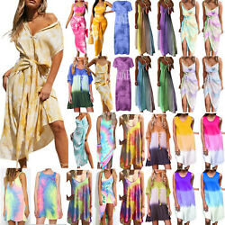 Ladies Women Boho Tie Dye Loose Dress Casual Summer Beach Party Holiday Sundress $21.69