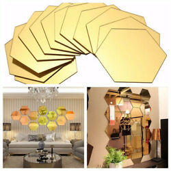 1 12PCS Hexagon Mirror 3D Wall Stickers DIY Home Decor Decorations Removable $3.99