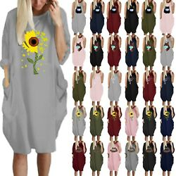 Women Floral Print Loose Baggy Dress With Pocket Casual Summer Dresses Plus Size $18.04