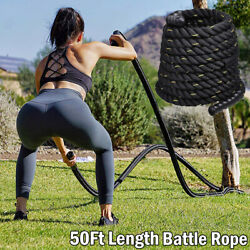 Fitness 50ft Heavy Battle Rope Climbing Training Strength Multicolored 1.5inch $93.99
