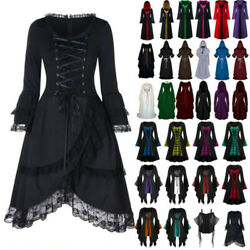 Womens Vintage Renaissance Gothic Dress Costume Victorian Cape Halloween Party
