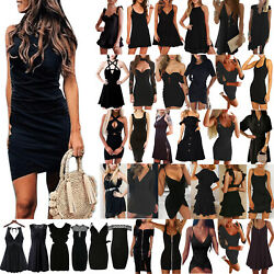 US Womens Summer Black Mini Dress Cocktail Party Beach Holiday Sundress Clubwear $20.89