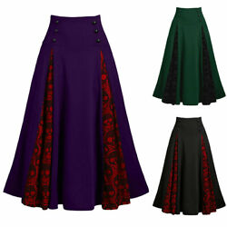 Women High Waist Lace Gothic Long Skirt Ladies Steampunk Party Casual Maxi Dress