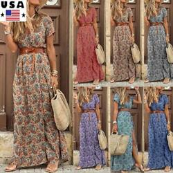 Womens Boho Floral V Neck Long Dress Summer Beach Holiday Short Sleeve Sundress $12.99