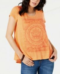 Style & Co. Women's High-Low Swing Top Mustard Lotus Blossom $7.99