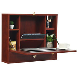 Home Living Room Wall Mounted Laptop Desk Hideaway Storage Spaces Organizer $109.19