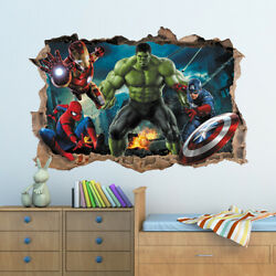 3D Marvel Avengers Hole In Wall Sticker Art Decal Decor Kids Bedroom Decoration GBP 14.99