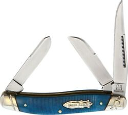 Rough Rider Stockman Folding Knife 440A Steel Blade Black And Blue Bone Handle  $19.69