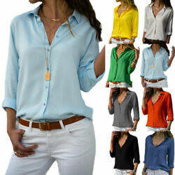 Womens Long Sleeve V Neck Button Down Blouse Ladies Casual Solid Loose Shirt Top $15.67