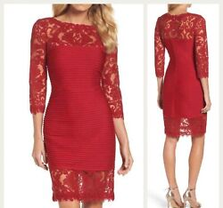 NWT Tadashi Shoji Women's Illusion Pintuck Sheath Dress $368 Size S