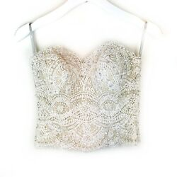 Watters Wtoo Bree Corset Beaded Ivory Lace Champagne Lining Bridal Wedding Sz 2 $699.99