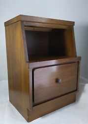 Vintage Mid Century Modern Solid Walnut Wood Nightstand End Table with Cubby $130.00