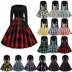 Women#x27;s Vintage Swing Rockabilly Dress 1950s 60s Evening Party Cocktail Dresses $19.66