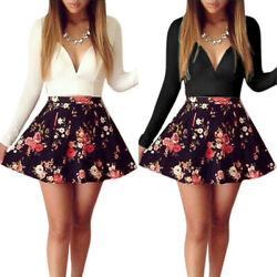 Womens Long Sleeve Floral Cocktail Evening Party V Neck Mini Skater Swing Dress $16.14