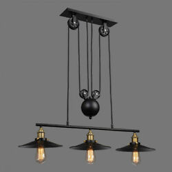 Retro Industrial Pulley Pendant Light Island Pool Table Retractable Ceiling Lamp $58.88