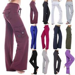 Womens Wide Leg Pockets Yoga Bootcut Pants Casual Sports Loose Trousers Size 12 $18.80