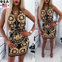 Womens Sleeveless Floral Summer Beach Party Dress Ladies Zipper V Neck Sundress $8.99