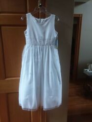 Dress formal girls size 12 new wth tags white flowers pearls $50.00