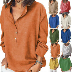 Womens Baggy Long Sleeve V Neck T Shirt Casual Loose Tunic Tops Blouse Plus Size $11.30