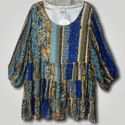 Plus Boho gypsy vintage blue tiered babydoll balloon sleeve top tunic blouse 1XL $31.49