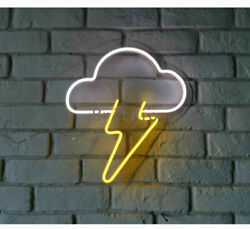 "LED Neon Light Sign13"" Cloud Lightning Neon Wall Sign Kid's Bedroom Party Gift $48.59"