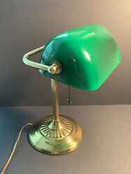 Vintage Bankers Desk Lamp Hand blown Green Glass Shade Underwriters Laboratories $12.50
