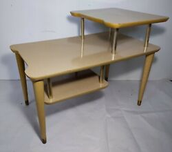 Vintage Mid Century Modern Retro Formica Top Cream Step End Table - 3-Tier $130.00