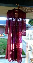 Vtg Purple Lace Long Duster Boho Coverup Dress Sz 9 Women Juniors Back Lacing $22.50