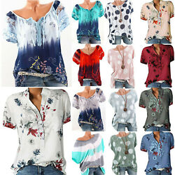 Womens Summer Beach Short Sleeve Blouse Loose Boho Floral Print Tunic Shirts US