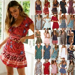 Women Boho Floral Short Mini Dress Ladies Summer Holiday Party Beach Sun Dresses $17.00