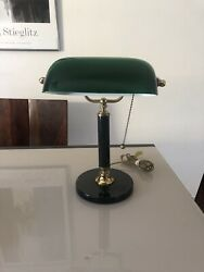Vintage Bankers Desk Lamp Green Glass Shade Marble Base Brass $100.00