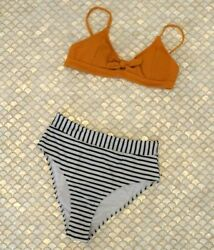 Cupshe Bikini Swimsuit Tie Front Top Striped High Waist Bottoms Womens L *NEW $9.99