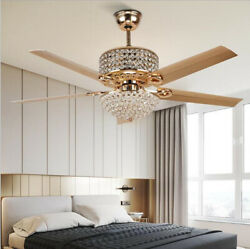 52quot; Luxury Gold Crystal Chandelier Pendant Lamp Remote Control Ceiling Fan Light $186.99