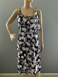 NWT Volcom That Was Fun Women#x27;s Sleeveless Floral Dress Size M $34.00