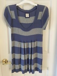 WOMEN'S KNIT TUNIC TOP PERIWINKLE & GRAY STRIPES BY OLD NAVY -- SIZE : MEDIUM