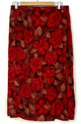 Sag Harbor Womens Pencil Skirt Long Faux Wrap Maxi Red Floral Rose Rayon Size M $17.80