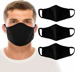 3 Large Men#x27;s Black Face Mask Washable 100% Cotton Masks $15.99